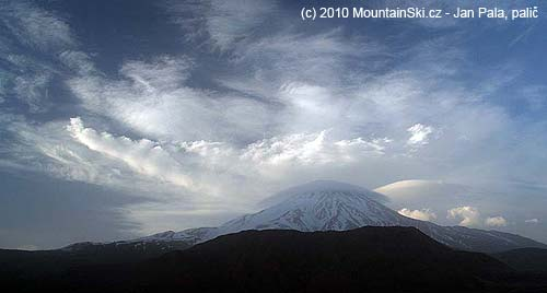 Clouds around the summit of  Damavand – 5671 m