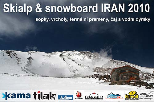 Introduction slide from presentation about skialpinism and snowboarding inÍrán