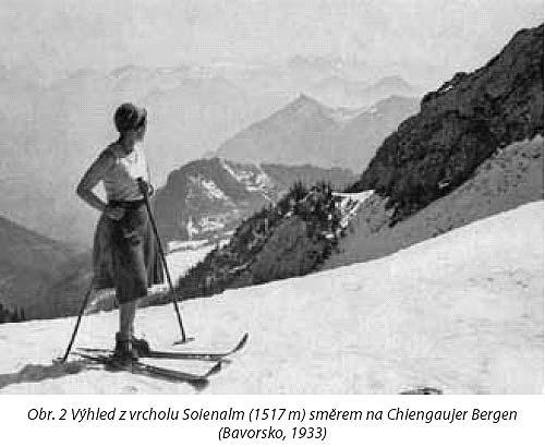 Obr. 2Výhled zvrcholu Soienalm, 1517m, směrem na Chiengaujer Bergen– Bavorsko,1933