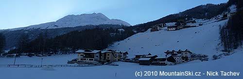 Part of ski resort Sölden is at the peak in the front ofus