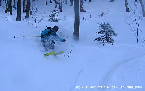 Všeťa showed bottom part of skis during downhill