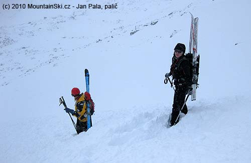 Lenka and Jana little covered by small avalanche