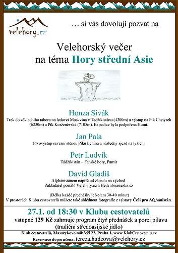 Pozvánka na Velehorský večer na téma Hory střední Asie
