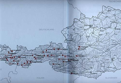 Přehledová mapa svyznačením všech vknize popsaných oblastí