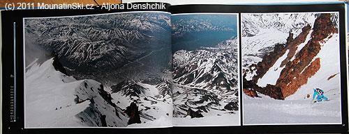 Strany 46–47 vulkán Viljučinskij, vlevo převýšení 2000metrů do údolí řeky Paratunka, vpravo lyžař na začátku hlavního kuloáru