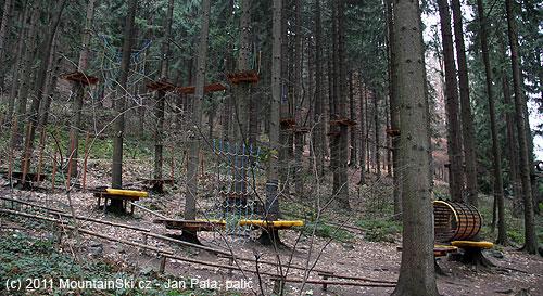 Lanový park Opičárna pod Lysou Horou, dvakrát se projdete za 200Kč