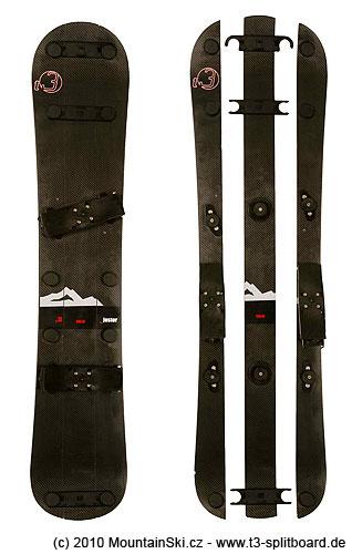 Obr. 143Spojený triboard a jeho rozebraný stav, kdy se prostřední lyžina připevní na batoh a na krajní se nasadí stoupacípásy