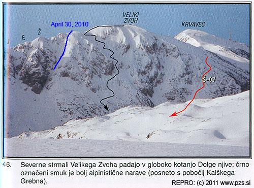 Vbarevné příloze je fotka číslo 46zahrnující severní svahy Velikega Zvoha, náš částečný sjezd je zakreslenmodře