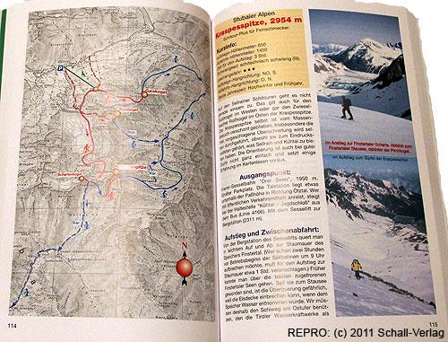 Dvoustránka 114–115 ze skialpinistického průvodce Schitour Plus– Kraspesspitze 2954m
