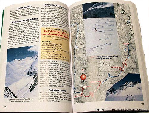 Dvoustránka 126–127 ze skialpinistického průvodce Schitour Plus– Piz Val Gronda 2812m a Lareinfernerspitze 3009m