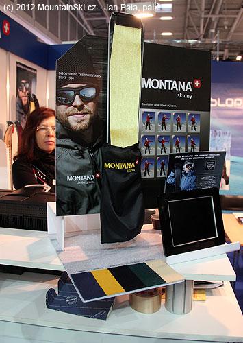 Zajímavý pytlík usnadňující balení stoupacích pásů na stánku firmy Montana