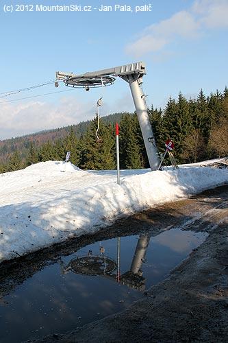 Voda a bahno na cestě, vedle minimálně půl metru sněhu