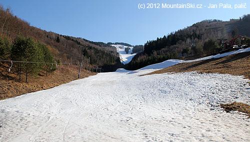 Na sjezdovce spousta sněhu, mimo sjezdovku jaro