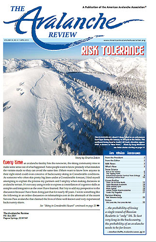 Titulní strana The Avalanche Review, Volume 30, No. 4, April2012