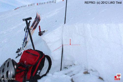 Sněhový profil, Rakousko 12.12.2012