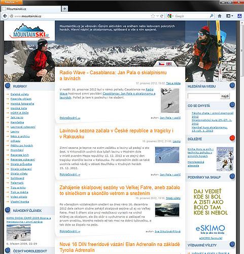 Úvodní stránka mountainski.cz, www.snehoty.sk jsou vpravém sloupci