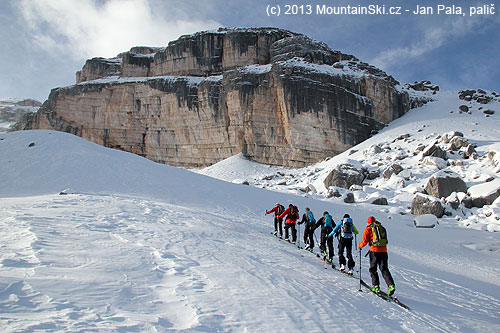 Typical scene during the ski-touring trip in Dolomites