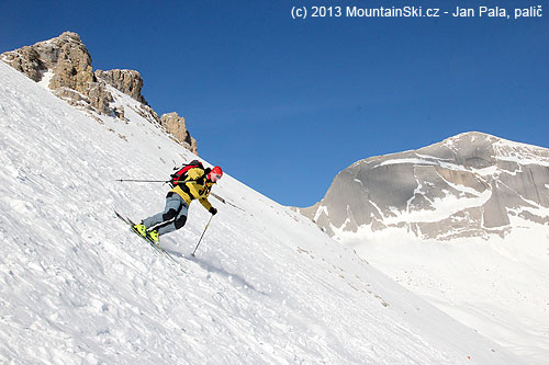 Michal on harder surface on skis Dynafit Cho Oyu