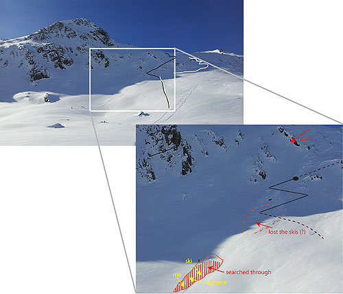 Whole view of the slope and zoomed part with the avalanche