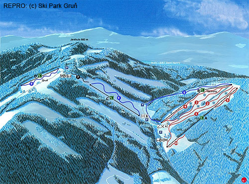 Scheme of the ski resort Ski Park Gruň, the best snow conditions were on red marked ski slope No. 4