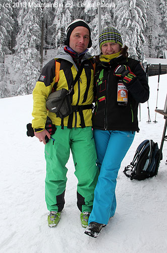 Kateřina and I with the bottle of rum – I did not drink rum, but it was great opportunity to test annual jacket Tilak Stinger and pants Tilak Avalanche