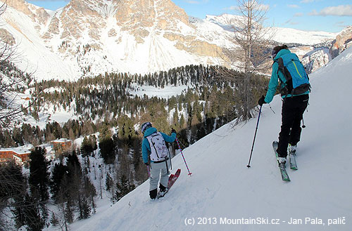 We skied down with a guy and two girls from Dynafit, Rifugio Fanes is just belowus