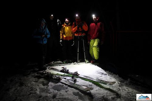 A night ski-touring trip up to the ridge was canceled next to transceiver due to strong wind