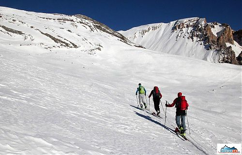 Uphill skiing in the Dolomites