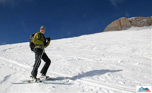 Lou Dawson - www.wildsnow.com - during the uphill skiing to Zehner Spitze