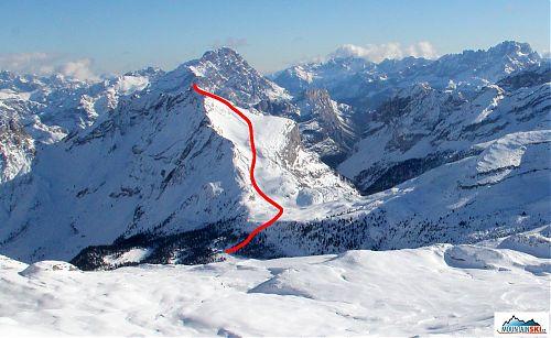 Výstupová a sjezdová trasa mezi Rifugio Fanes a vrcholem Col Bechei de Sora