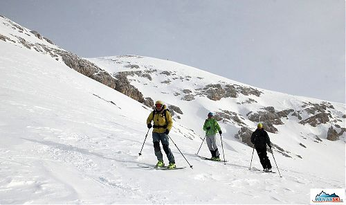 Skiing on the gentle slope