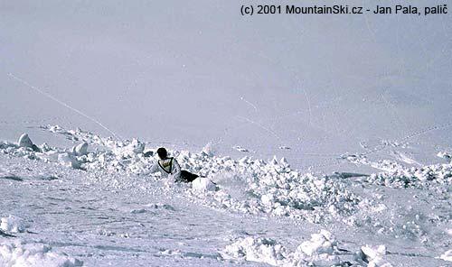 Hned prvním obloukem se uvolňuje svrchní naměklá vrstva sněhu a stržený lyžař je jí zachycen a stržen bez možnostivyjetí
