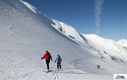 The first skitouring ascend in Canada - just below the pass