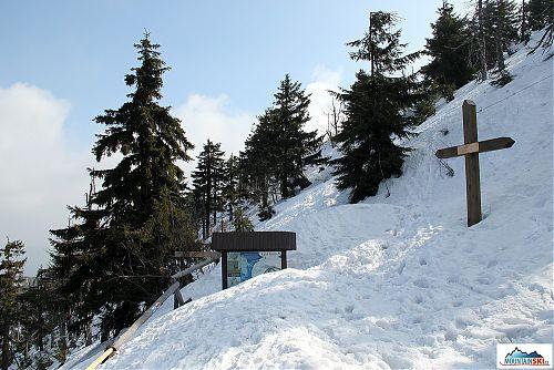 V zatáčce těsně pod vrcholem je sněhu více než málo