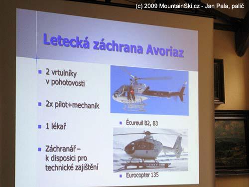 Vybavení letecké záchranky vAvoriaz