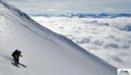 Jan Pala skiing from volcano Viljuchik. Photo: Roman Gregus