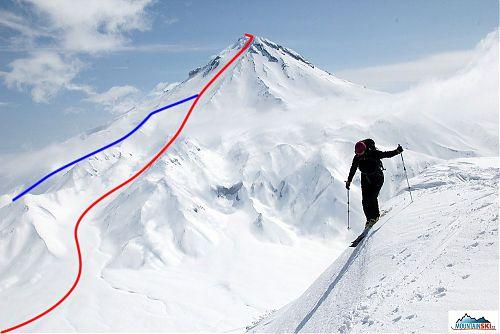 Náš výstup a sjezd z vulkánu Viljučinskij - červeně je výstupová stopa a částečně sjezd, modře sjezd vedoucí až ke stanům