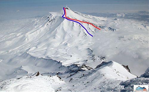 Avačinskaja v celé své kráse při pohledu z pod vrcholu Korjakského, červeně výstupová trasa a modře sjezd