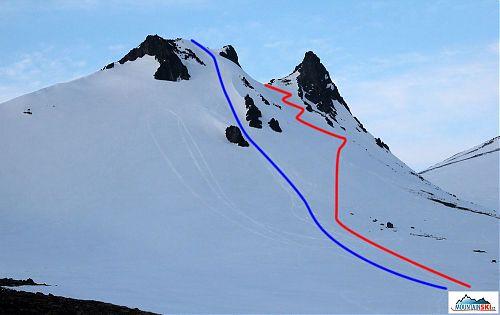Velbloud - výstupová lyžařská stopa je červeně, modře je sjezd