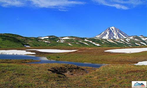 There can be a lot of snow at Kamchatka in the middle of July