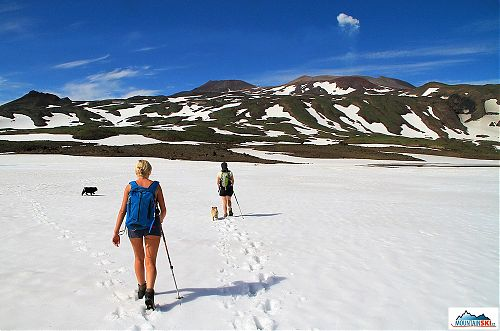 We are traversing one of many snow fields
