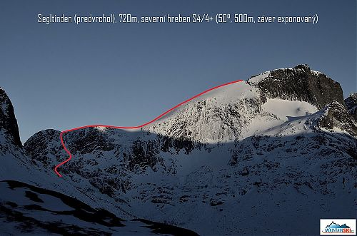 Scheme of ski descend from the North ridge of Segltinden