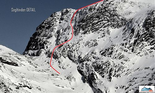 Detail of the lower part of ski route from the North ridge of Segltinden