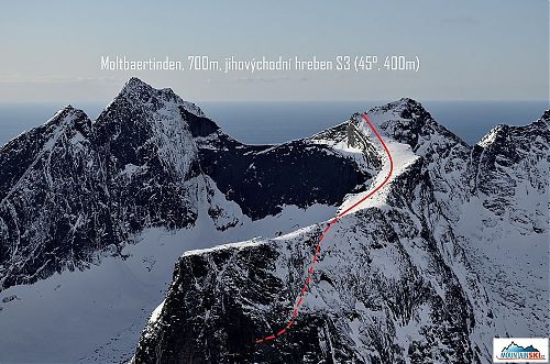 Scheme of the ski route through south-east ridge of Moltbaertinden