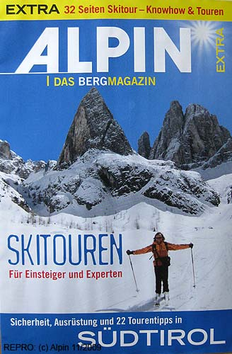 Title page of special ski-mountaineering part of Alpin 11–2009