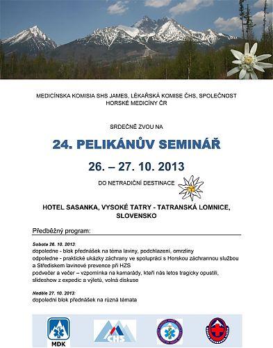 Pozvánka na 24. Pelikánův seminář Společnosti horské medicíny