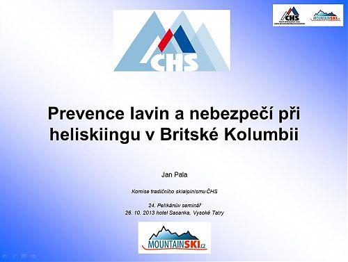 Úvod do prezentace o pohybu na lyžích v Britské Kolumbii