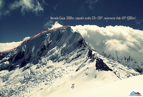 Nákres výstupu a sjezdu Nevado Copa