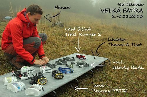 Příprava na test čelovek a dalších výrobků vhodných do přírody