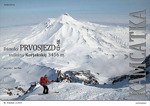 Strany 16-17 zimního speciálu časopisu OutdoorGuide - začátek článku o vulkánu Korjakskij
